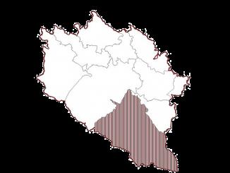 Občina Idrija. S temnim vzorcem označeno območje KS Črni Vrh. Foto: Občina Idrija